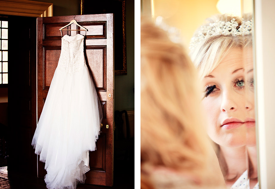 wedding dress hung from a wooden door in halswell house