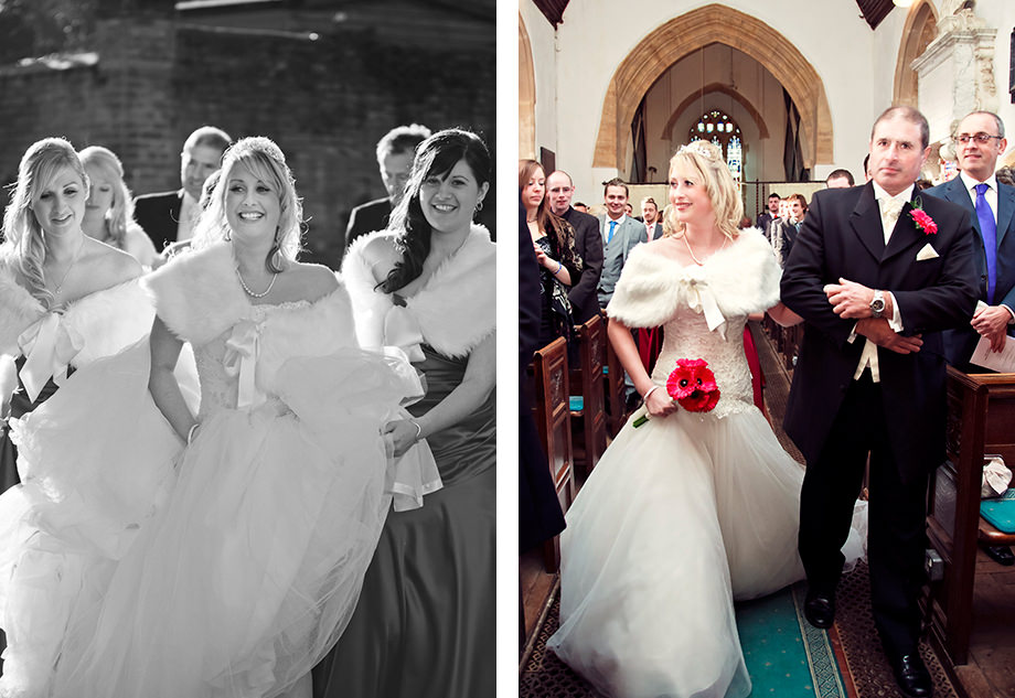 bride arrives at a church in somerset with her father