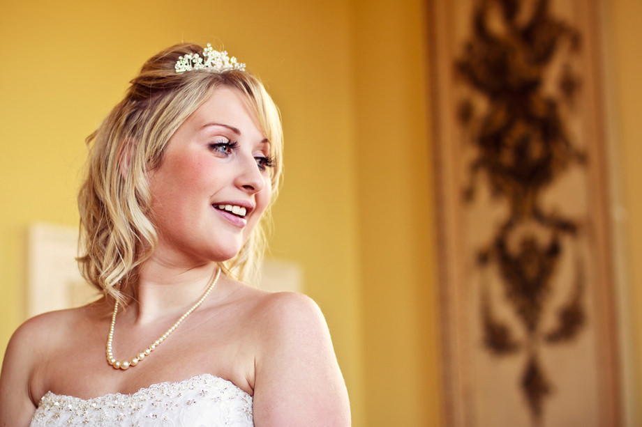 smiling bride at halswell house