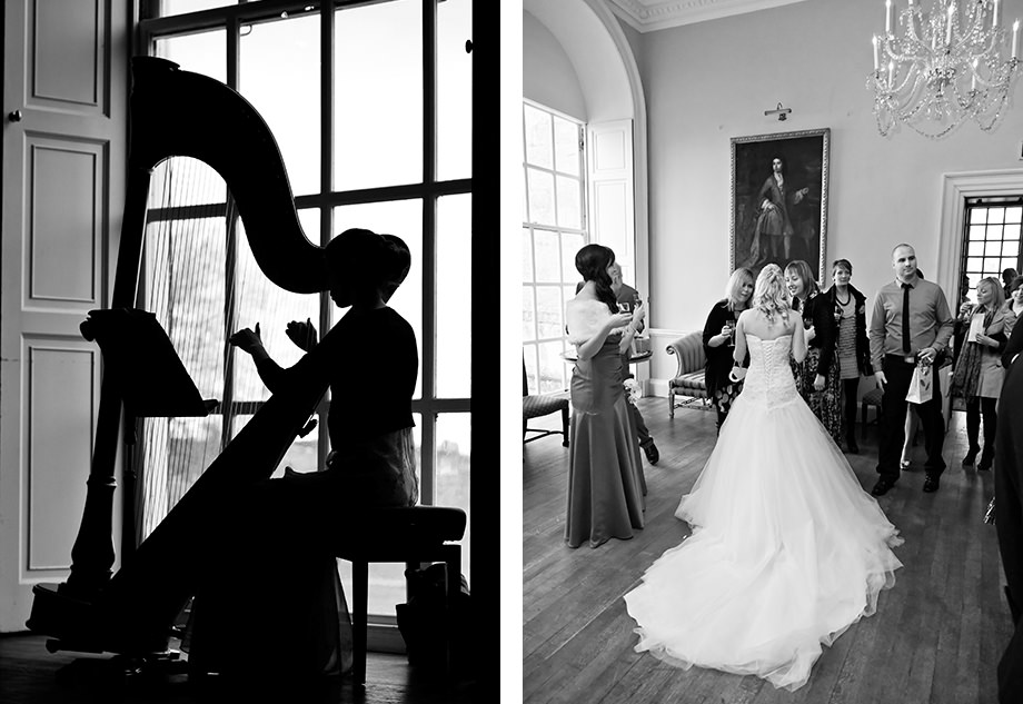 a harpist plays at a wedding in halswell house