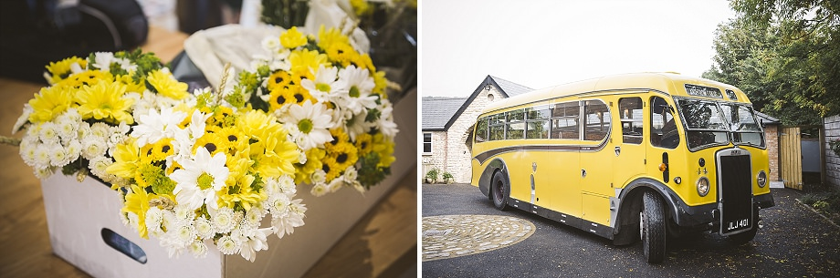 yellow bus for weddings