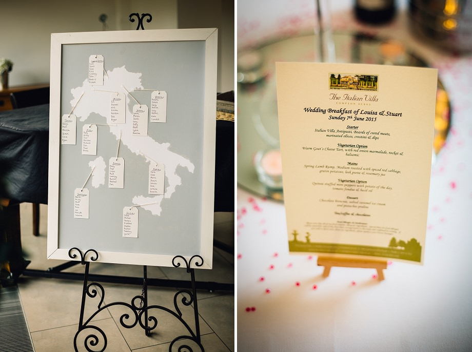 the italian villa wedding breakfast