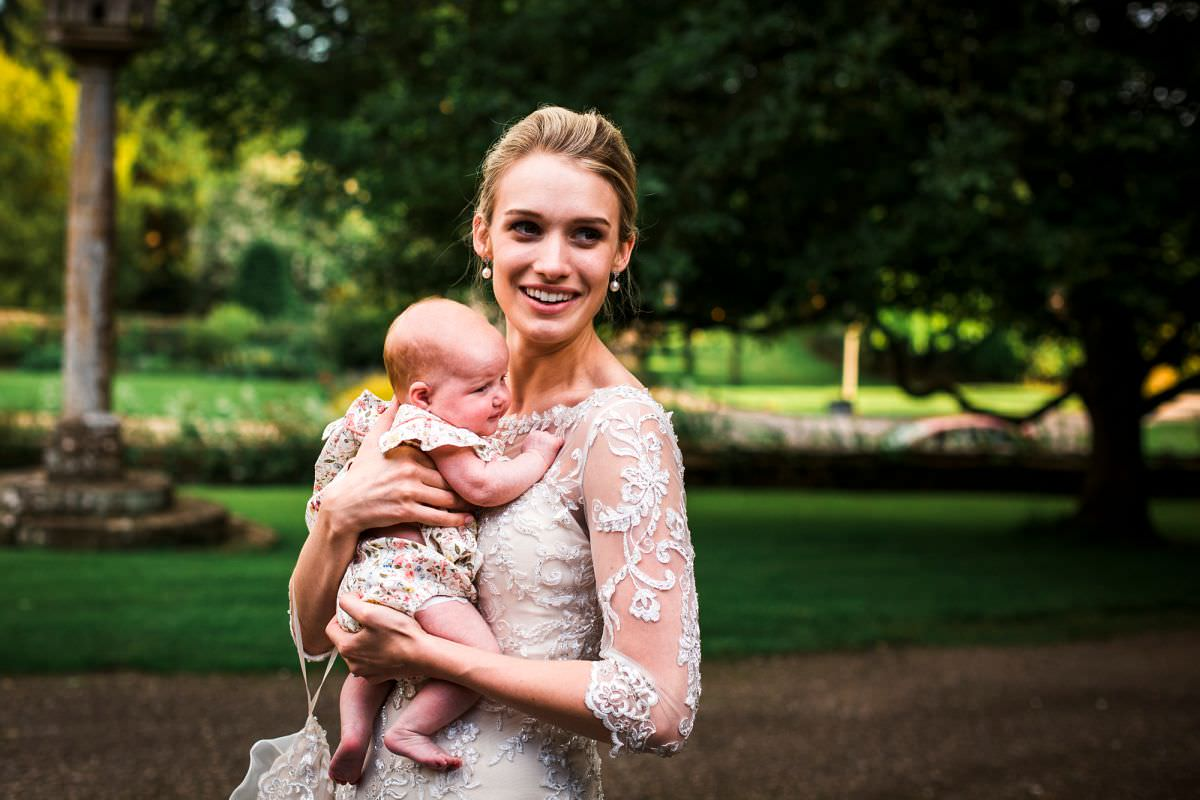 bride and baby at a somerset wedding