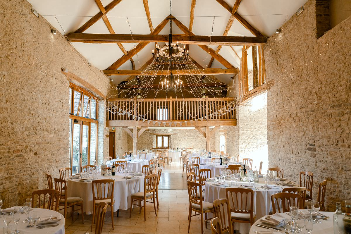wedding breakfast at kingscote barn