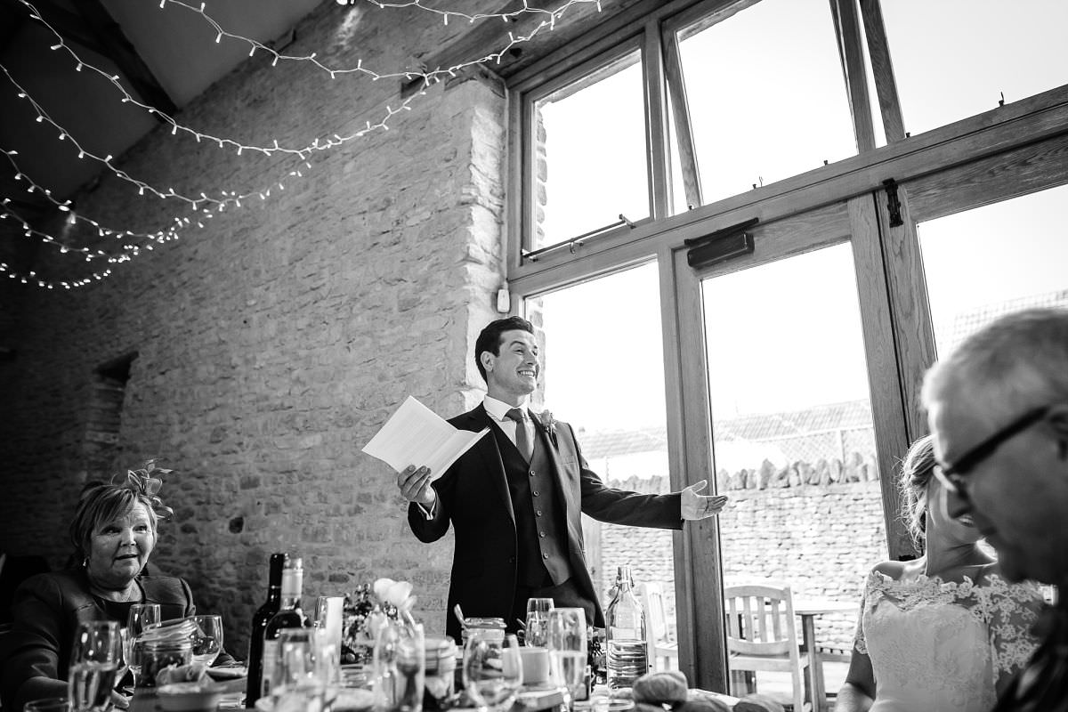 wedding speeches at kingscote barn
