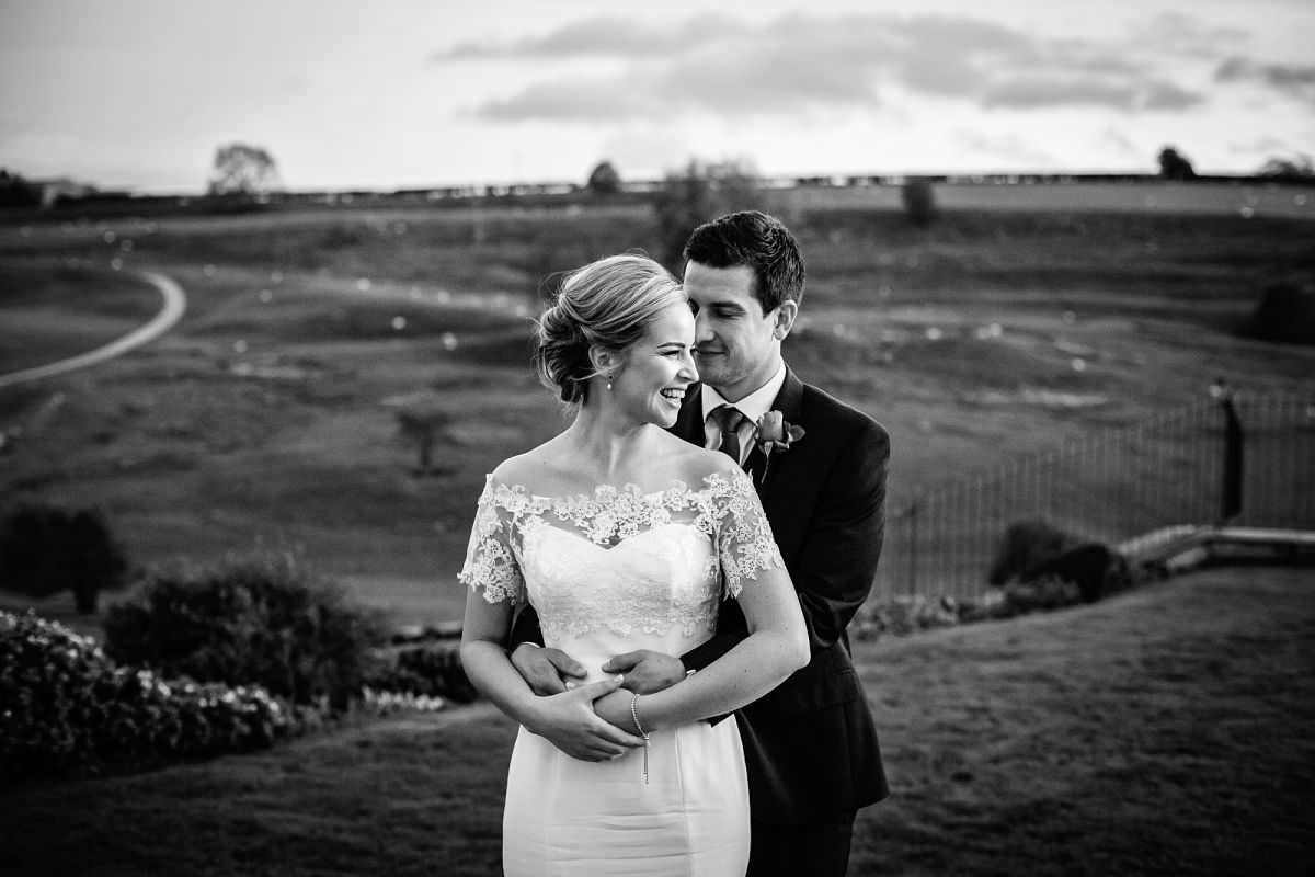 bride & groom sunset portraits at kingscote barn wedding venue