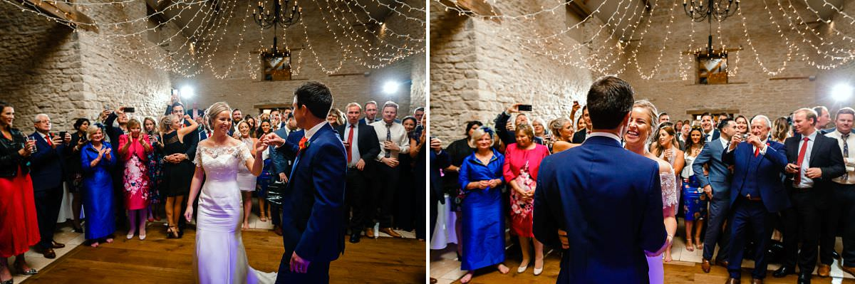 dancing at kingscote barn wedding venue