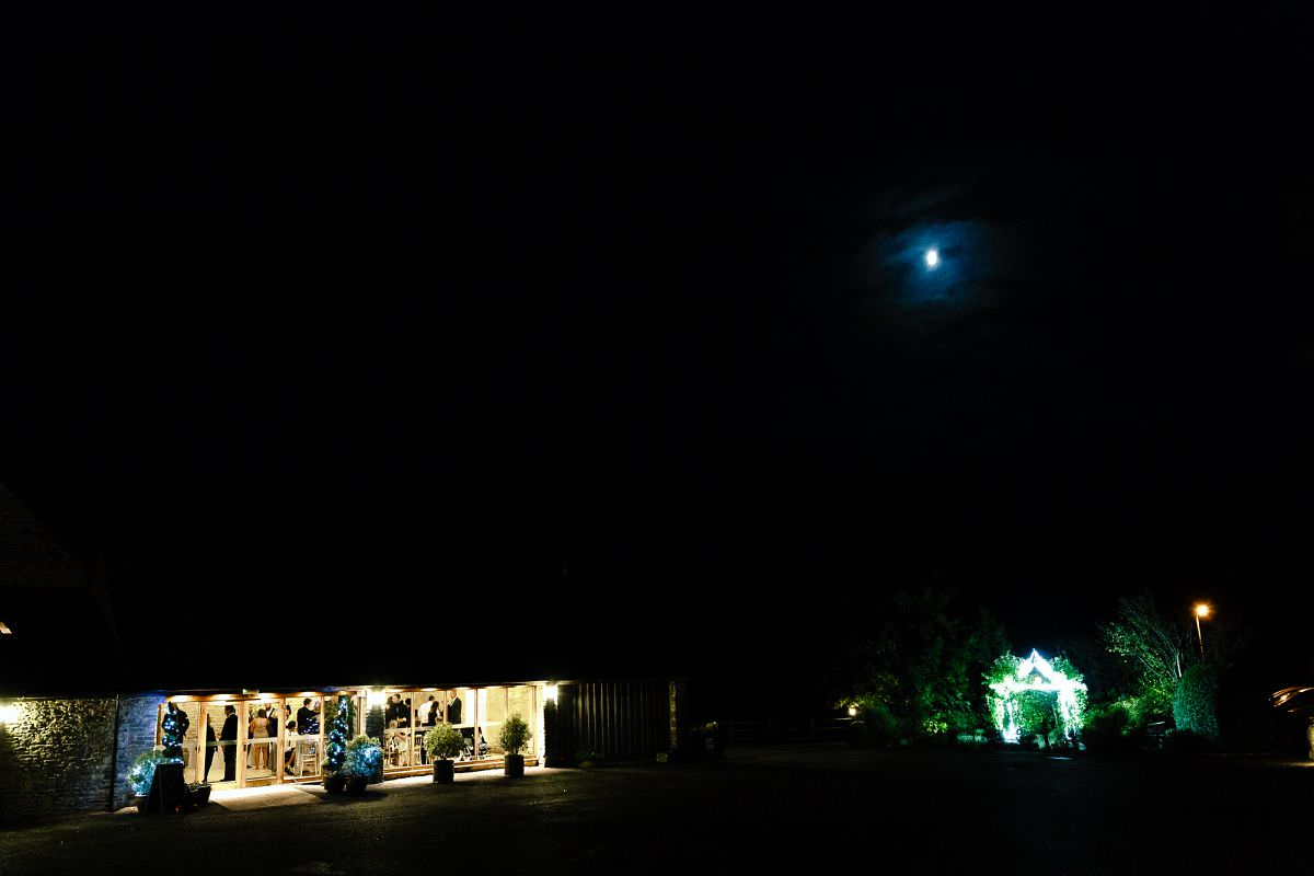 kingscote barn wedding venue at night
