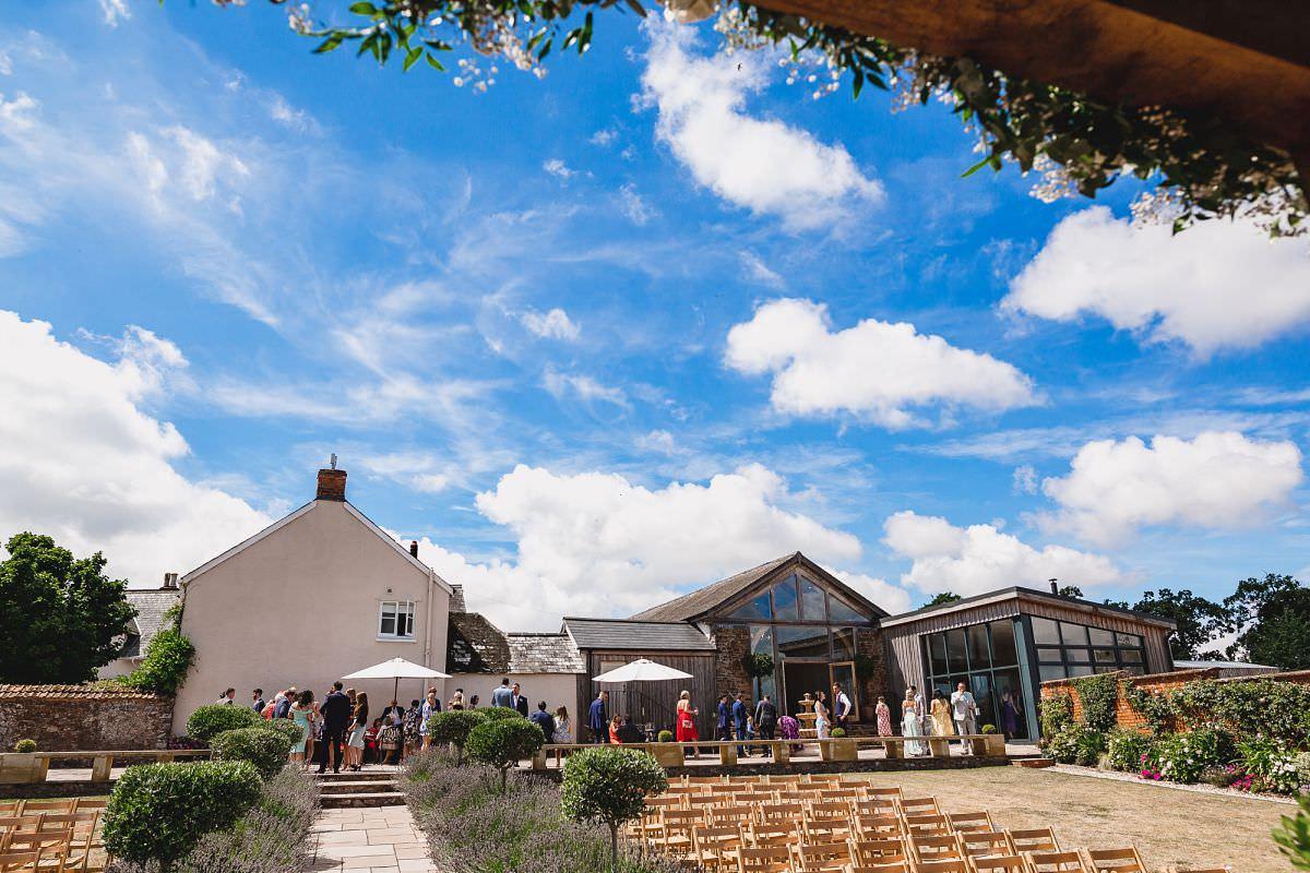 wedding guests at upton barn in devon