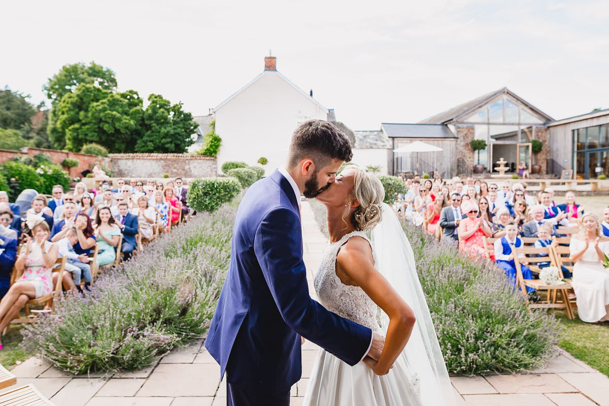 wedding ceremony at upton barn in devon