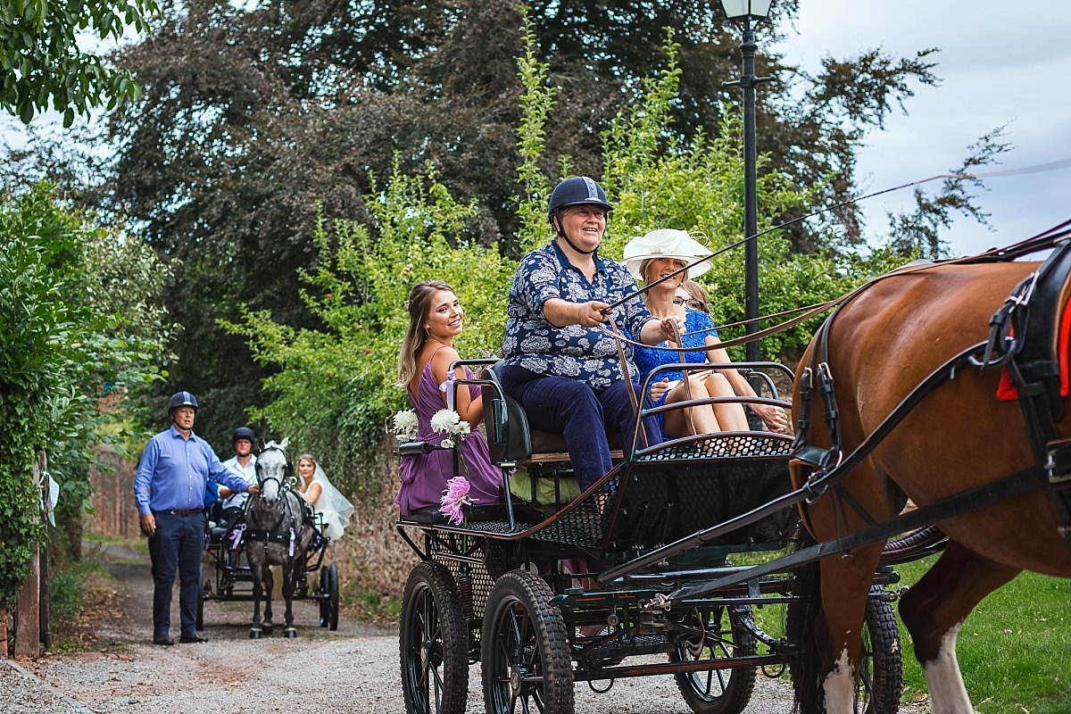 horse and cart wedding devon
