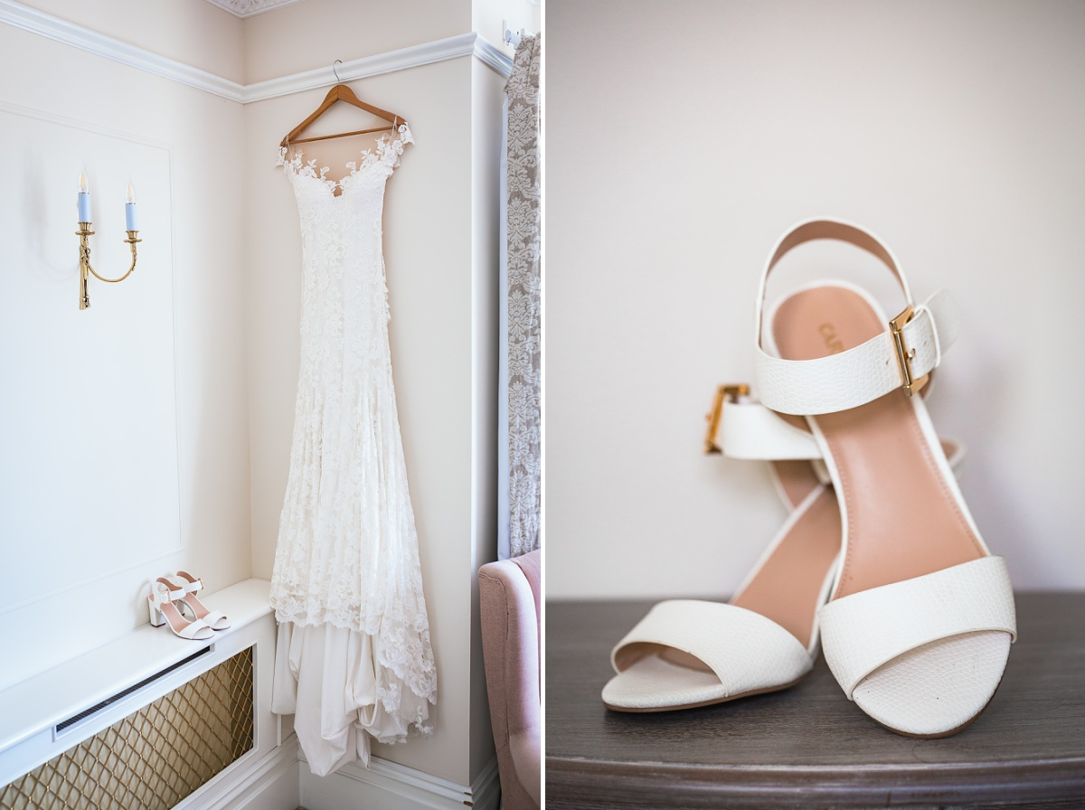 bath wedding dress and shoes