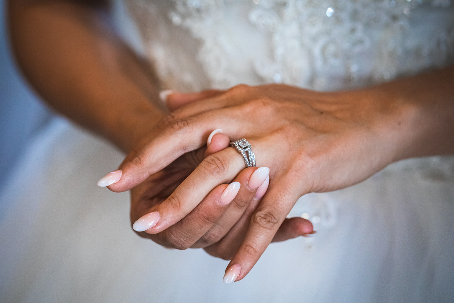 bride wearing wedding ring for first time
