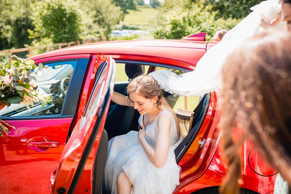 bride arrives at gants mill